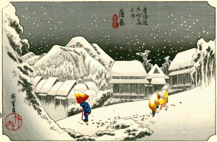 Utagawa Hiroshige-Night Snow at Kambara,